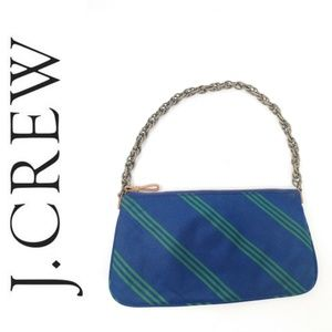 J. Crew Purse Small Blue Green Striped Satin bag